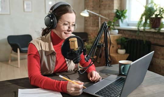 Radio host working at radio